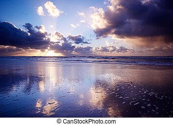 oceán, a, západ slunce