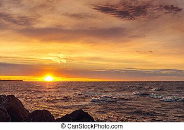 oceán, břeh, v, východ slunce