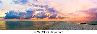 oceán, pláž, a, západ slunce