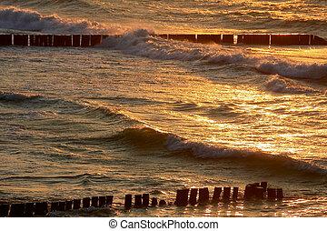 oceán vlnitost, v, západ slunce