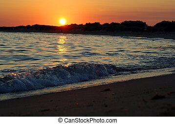 oceán, západ slunce