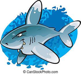 oceânico, branca, ponta, caricatura, tubarão
