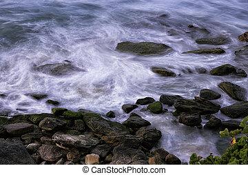 oceânicos, contorno costa, ondas