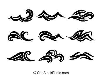 oceânicos, mão, desenhado, ondas, isolado, branco, fundo