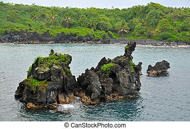 oceânicos, mar, pedras