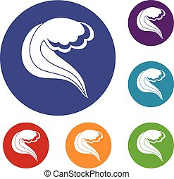oceânicos, ou, mar, onda, ícones, jogo