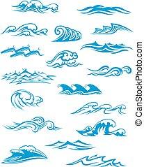 oceânicos, ou, mar, ondas, surfar, e, esguichos, jogo