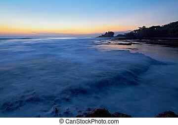 oceânicos, pôr do sol, lote, ondas, tahah, templo