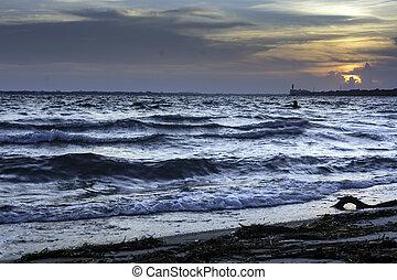 oceânicos, pôr do sol, ondas