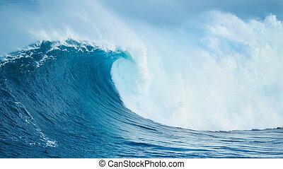 oceânicos, poderoso, onda