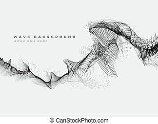 oceânicos, pretas, partícula, onda