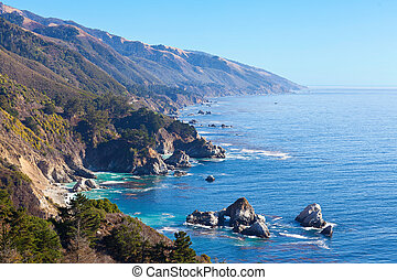 oceaan, californië, aanzicht