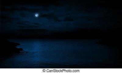 oceaan, landscape, met, maan, boven