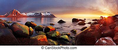 oceaan, noorwegen, ondergaande zon , panorama, kust