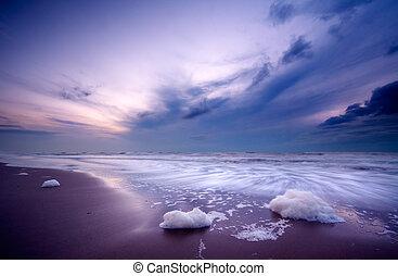 oceaan, op de avond