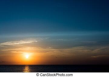 oceaan, opkomst zon
