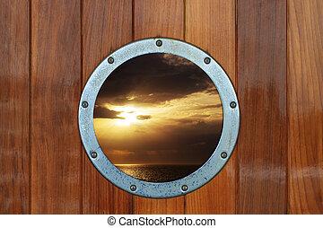 oceaan, patrijspoort, scheepje, aanzicht