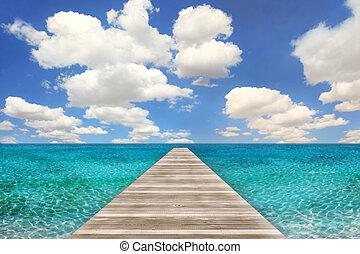 oceaan, strandscène, met, hout, pijler