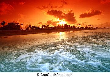 oceaan, zonopkomst