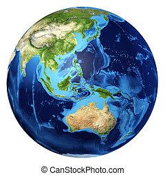 oceanía, d, globo, rendering., realista, 3, tierra, vista.