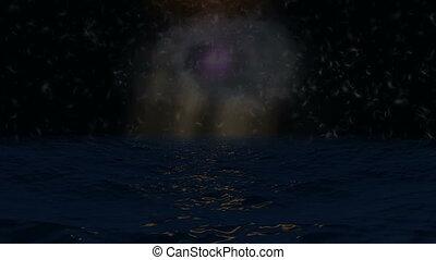 ocean, światła, ciemny, marzycielski, pierze, tło