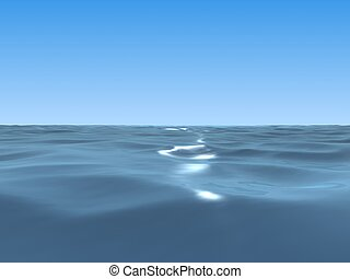 ocean  - 3d rendered illustration of the wide blue sea
