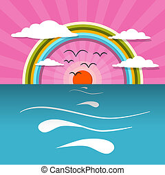 Ocean Abstract Sunset, Sunrise Vector Illustration with Sun, Birds, Rainbow