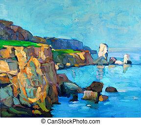Ocean and cliffs - Original oil painting of ocean(sea) and ...