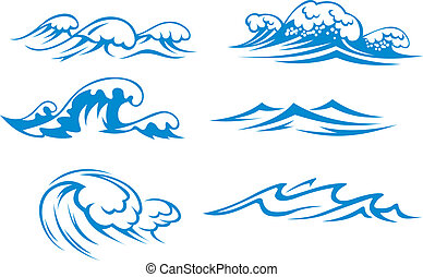 Ocean and sea waves set for design