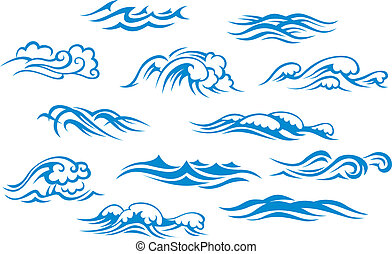 Ocean and sea waves set isolated on white background