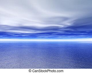 Ocean and sky. 3D render scene.