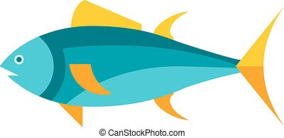 Ocean animal design of tuna fish cartoon animals flat vector illustration.