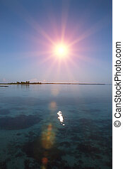 Ocean at sunset. Polynesia. Tahiti