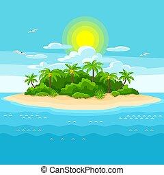 ocean., bäume., reise, abbildung, wasserlandschaft, tropische , handfläche, hintergrund, insel, landschaftsbild