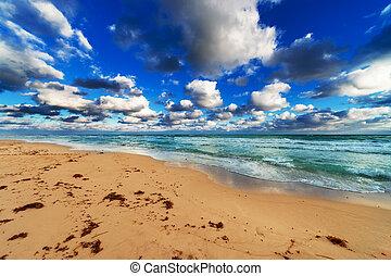 ocean, beach and sky
