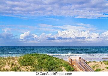 Ocean Beach Dunes - Waves roll over an Atlantic Ocean beach ...
