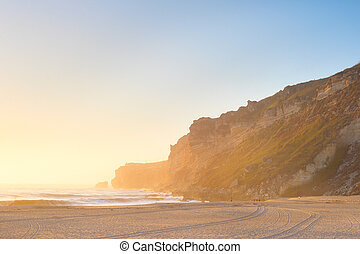 ocean beach people Nazare Portugal