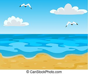 Ocean beach, waves and blue sky with white clouds. Vector Illustration