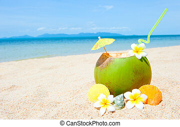 Ocean beach with palm and and exotic coctail