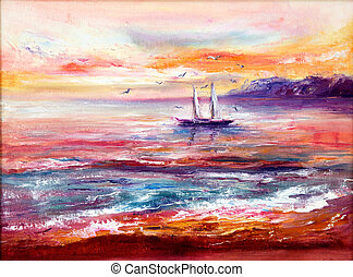 Ocean, boat and sunset