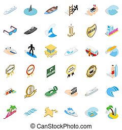 Ocean boat icons set, isometric style - Ocean boat icons...