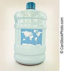 ocean bottle . 3D illustration. Vintage style.