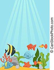 Ocean bottom with green seaweed, shells, big stones, red starfish,