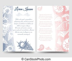Ocean brochure template with sea shells