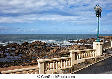 Ocean Coast With Balustrade And Street Lamp