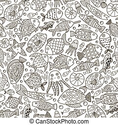 Ocean collection with doodle fish for coloring book -...