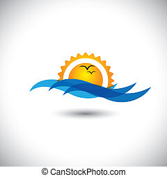 ocean concept vector - beautiful morning sunrise, waves & birds. This graphic illustration also represents sunset, evening sky with birds flying, serene landscape, tranquil waters, etc