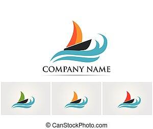 Ocean cruise liner ship simple linear logo