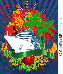 Ocean Cruise Liner Splash And Green Banner