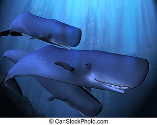 OCEAN DEPTHS - A sperm whale pod descends into the deep...